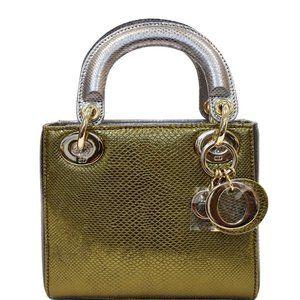 Dior Christian Mini Lady Chain Metallic Handbag